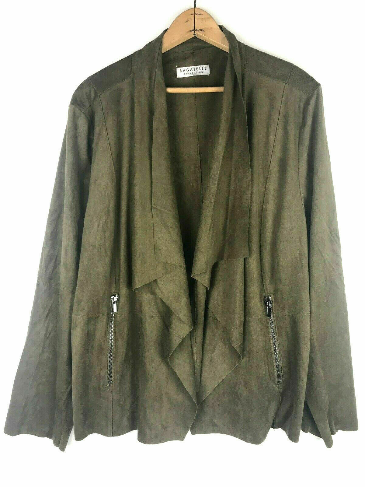 Bagatelle 3X Micro Suede Jacket Open Front Drapey Olive Army Green Artsy Wrap #1