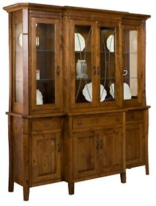 Amish Traditional Hutch China Cabinet 4 Door Leaded Glass Solid Wood