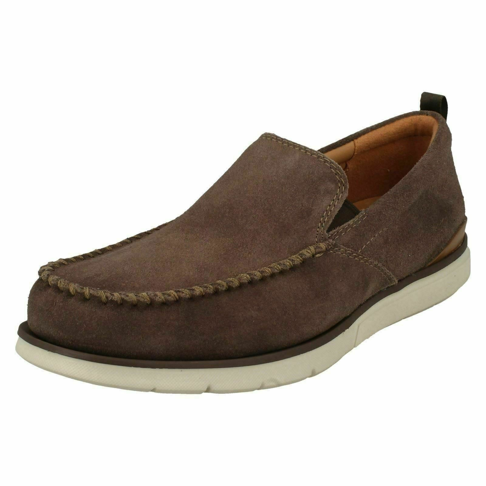 MENS CLARKS TAUPE SUEDE SLIP ON STYLISH CASUAL SOFT SHOES SIZE EDGEWOOD STEP