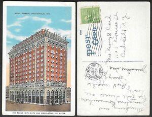 1939-Indiana-Postcard-Indianapolis-Hotel-Severin