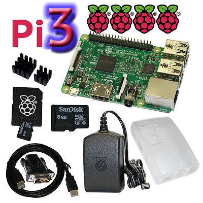 Raspberry Pi 3 Model B WiFi SET mit Gehäuse, Netzteil, HDMI, SD, Kühlkörper...