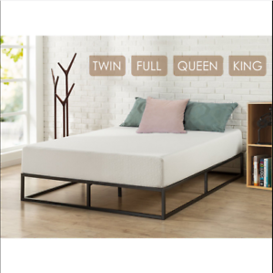 low priced f600a 4b342 Details about Home Hotel Simple Basic Iron Bed Queen King Twin Metal  Platform Bed Frame Black