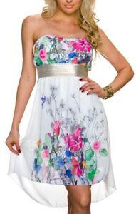 SeXy Damen Vokuhila Chiffon Mini Kleid Bandeau Blumen Gold ...