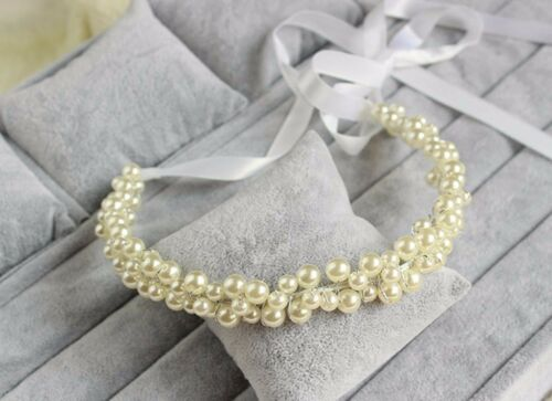 Women White Wedding Bride Bridal Pearl Party Hair Headband Ribbon Prop Garland