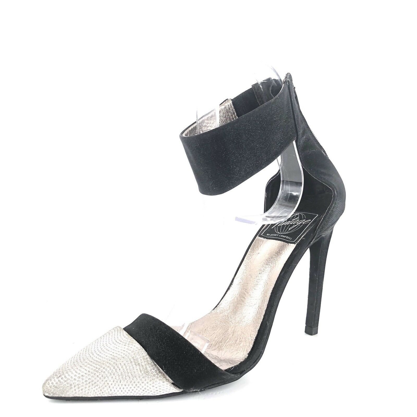 Jeffrey Campbell Adelyn Glitter Pointy Toe Ankle Strap Heel Pumps Size 6 M