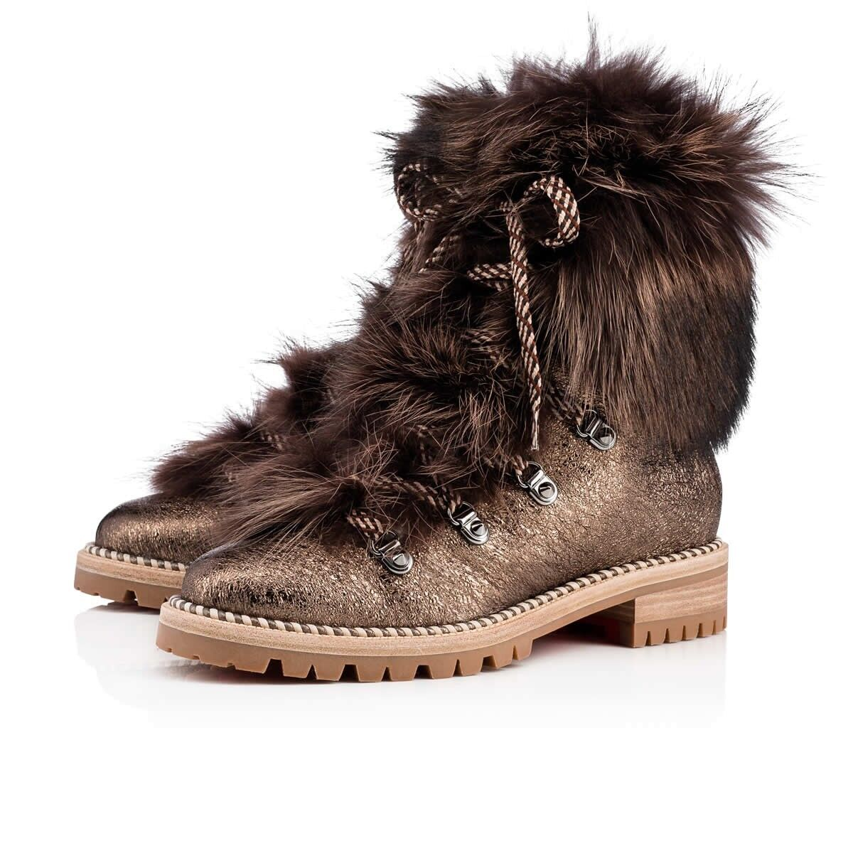 NB Christian Louboutin Fanny Flat Roche Fur Leather Lace Up Tie Combat Boot 35.5
