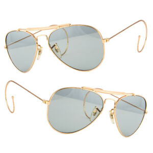New-Aviator-Sunglasses-Hipster-Vintage-Style-Cable-Hook-Temples-Gold