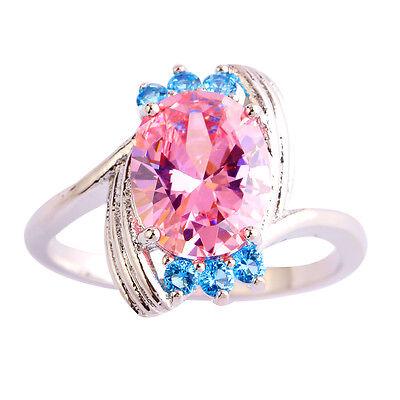 Claddagh Pink & Blue Topaz Women Nice Gemstone Silver Ring Size 6 7 8 9 10 11 12
