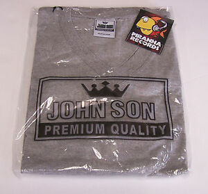 John-Son-Premium-Quality-Gray-V-Neck-Shirt-M-100-Cotton-Piranha-Records