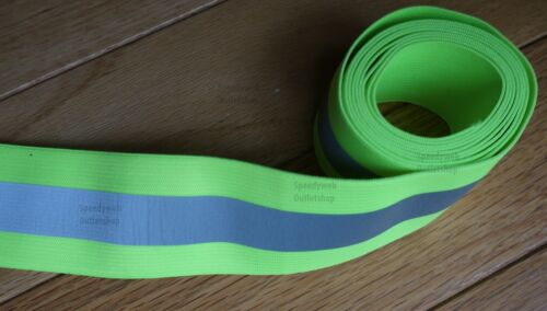 Elastic Reflective fabric 2-inch Sew-On Lime Yellow tape trim
