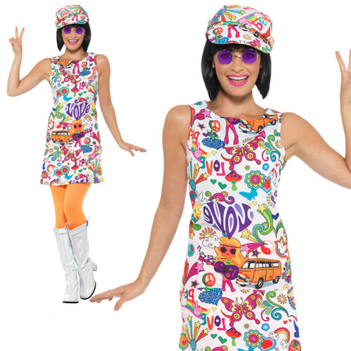 60s Groovy Chick Costume Hippy Hippie Adult Womens Ladies Fancy Dress Outfit