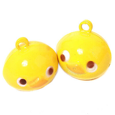 5pc Yellow Little Duck Shape Crafts XMAS Charms Jingle Bells Supplies Handmade C