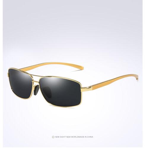 Polarized Aluminium Sunglasses Gold Frame Black Lens Sport Driving Fishing 2458