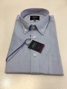 Charles-Tyrwhitt-Mens-Sky-Plain-Slim-Fit-Short-Sleeve-Washed-Oxford-Shirt-Medium