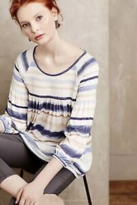 Anthropologie-Meadow-Rue-Blouse-Size-Blue-White-Striped-Smocked-Peasant-Top-L