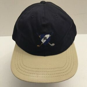 VTG POLO RALPH LAUREN Golf P Wing 2-Tone StrapBack Hat Cap MADE IN ... 2100ac5dc04