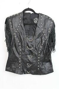 Vtg-Rebel-Spirit-Women-Size-XL-Black-Leather-Fringe-Studded-Motorcycle-Jacket