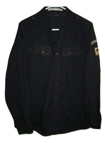 John Varvatos Black Patches RARE Cotton Long Sleev