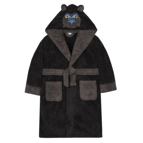 Boys Gorilla Dressing Gown Robe Novelty Animal Hooded Snuggle Fleece Super Soft