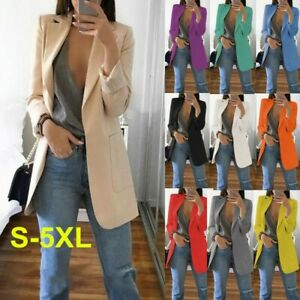 Women's Slim Blazer Suit Long Sleeve Coats Ladies Jackets Waistcoats Cardigan