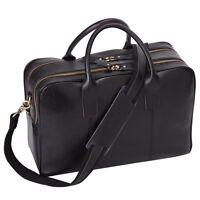 Multifunctional Mens Shoulder Leather Laptop Briefcase Business Office Bag Black