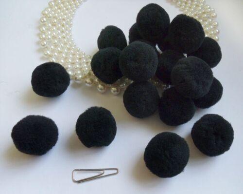 "Lots of 48 pcs Mini Lovely Black Pom Pom Appliques Craft-1/""-M009B"
