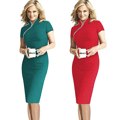 New Women Stand Collar Cocktail Party Slim Bodycon Business Evening Pencil Dress