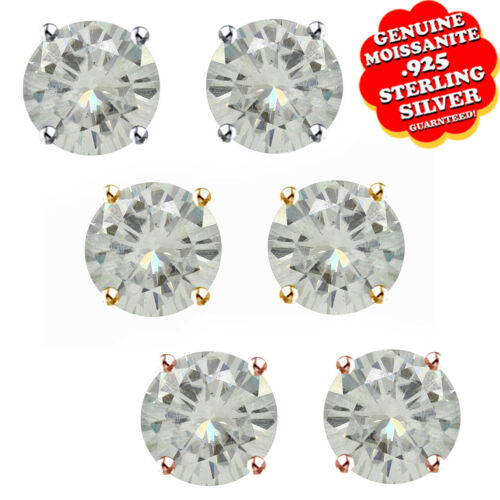 0.44 Ct 4mm Moissanite Round Cut Sterling Silver Push Back Stud Earrings