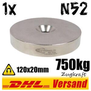 Neodym-Magnet-Scheibe-120x20-mm-750kg-N52-mit-Loch-Befestigungsmagnet-Haftmagnet