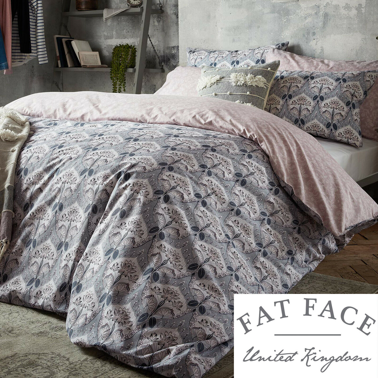 Fat Face Designer Bedding WATERLILIES Floral 100% Cotton Duvet Cover Set Bedding