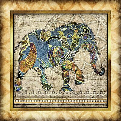 Elephant Bohemian Watercolor Art Print #5 by Dan Morris option to mount print
