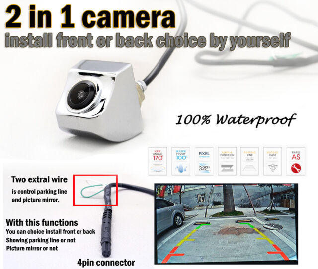 Real 2in1 Car Rear Forward View CCD 170°Back Side Front Parking Camera C083-S