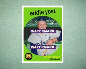 Eddie Yost Detroit Tigers 1959 Style Custom Baseball Art Card