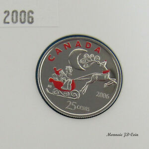 2006P-Canada-25-Cents-Holiday-Rudolph-Coloured-From-Set