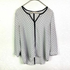 41 Hawthorn Stitch Fix Women's S White Black V Neck Long Sleeve Top Blouse Tunic
