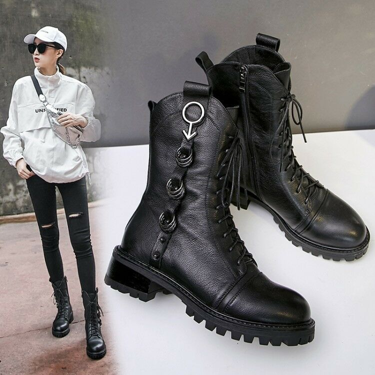df8cba8072bada Femme Fashion Cuir Metal Decor Lace Up Combat Bikers Bottines Chaussures  Sea19