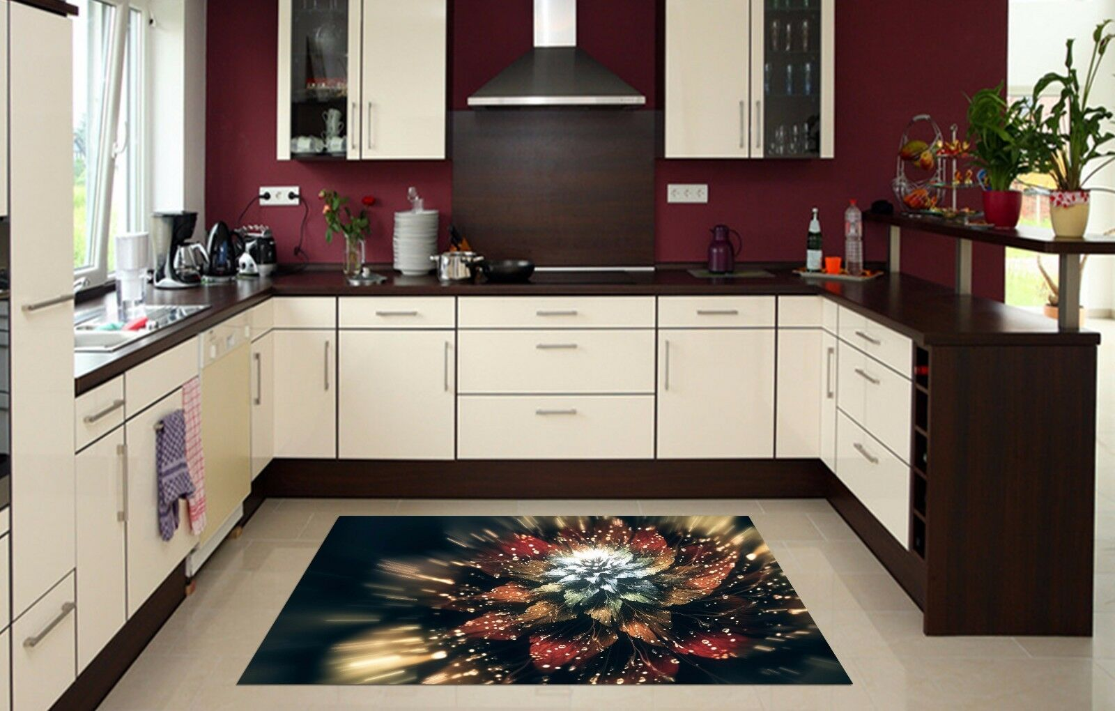 3D Shiny Flower 9 Kitchen Mat Floor Murals Wall Print Wall AJ WALLPAPER AU Carly