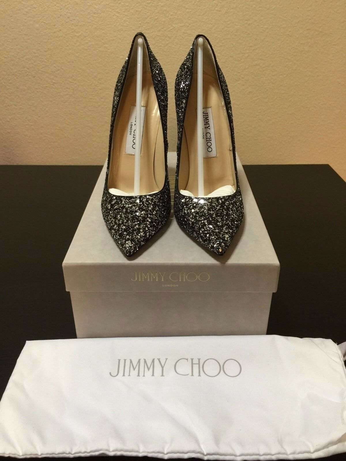 675 Brand New Authentic Jimmy Choo Silver Anouk Glitter Pumps 120mm Size 36.5