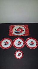 Antique TIN PLATE Lithograph Red Tea Pot Tray Plate Child's Toy Tea Service Set