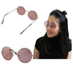 La imagen se está cargando Gafas-De-Sol-Redondas-Mujer-Rosa-Dorada-Lenon- cd93fbb8e51b