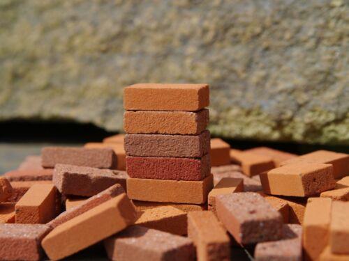 250 1:12th échelle multi rouge véritable brique miniature bricks