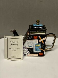 """2001 Kevin Chen Enamel Bronze Hinged Trapezoid Teapot """"Back to School"""" with COA"""