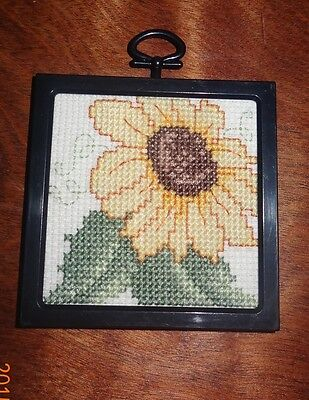 Sunflower ornament picture framed Finished Cross Stitch  Handmade