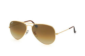 NEW Genuine RAY-BAN Metal Aviator Gold Brown Sunglasses RB 3025 001/51 62MM 3O25