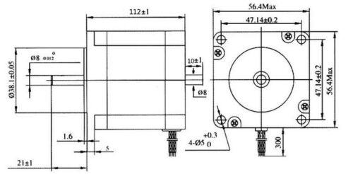 CNC Nema 23 Stepper Motor Dual shaft 57BYGH112 425oz-in 112mm 3A CE ROHS ISO
