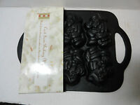 Santa Clause Cast Iron Mold Baking Festive Heavy Black For Breads Cakes