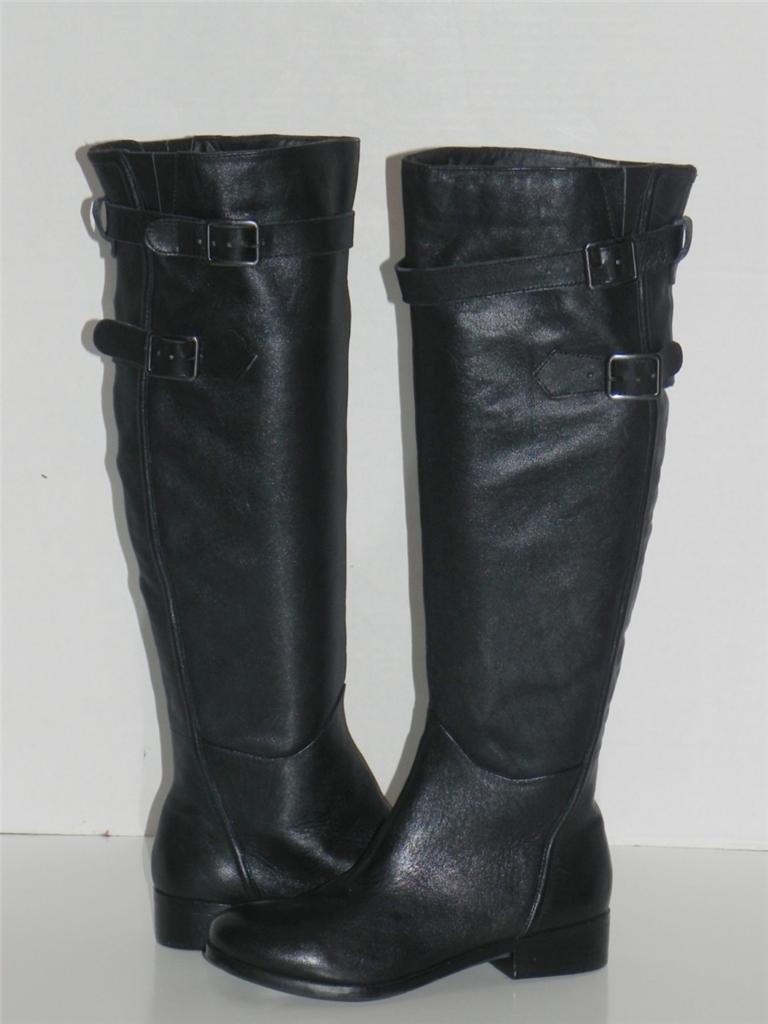 Reba Stand nero Leather Buckle Knee High stivali 6