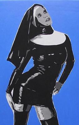 "Nude Pop Art Original Oil Painting Terry P Wylde  Latex Lovely 2  16""X12"""