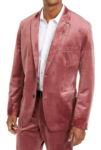 INC Mens Suit Jacket Pink Size Medium M Velvet Slim Fit Notch Collar $149 #024