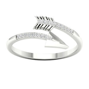 e6f637224f4 Details about 10k White Gold 1/20ct TDW Diamond Arrow Wrap Ring
